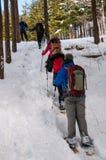 Jizo通行证的远足者在长野县,日本 库存图片