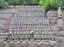 Jizo Bodhisattva statues at Hase-dera temple in Kamakura, Japan. Row of Jizo Bodhisattva statues at Hase-dera temple in Kamakura, Japan. Hase-dera, commonly Royalty Free Stock Images