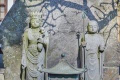 Jizo  with Chinese Goddess at Hasedera in Kamakura. Jizo Bodhisattva with Chinese Goddes Statue at Hasedera Temple in Kamakurann Stock Images