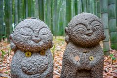 Jizo Statues in Arashiyama bamboo forest, Kyoto, Japan. Small Jizo Statues in Arashiyama bamboo forest, Kyoto, Japan Stock Photo