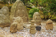 Jizo statues in Kinkaku-Ji temple, Kyoto Royalty Free Stock Photography