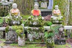 Jizo statues in Okunoin cemetery at Koya-san, Japan Royalty Free Stock Images
