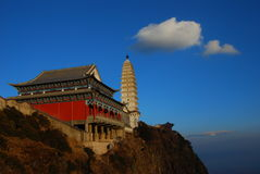 Jizu mountain in China. The  pagoda and  the temple  at the  top  of  the  Jizu  mountain Royalty Free Stock Photo