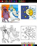 Jäkel och ängel för färgläggning Royaltyfria Bilder