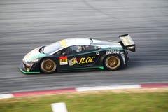 JLOC Lamborghini car 86, Super GT 2010. JLOC Lamborghini car 86 at turn 15, SuperGT round 4 Sepang @ June 2010 Royalty Free Stock Photography