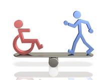 Jämbördiga rätter av folk med handikapp och den kompetenta förkroppsligade personen. Fotografering för Bildbyråer