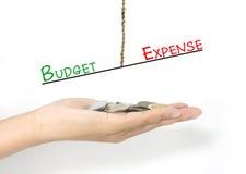 Jämförelse mellan budgeten och kostnad Arkivfoto