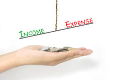 Jämförelse mellan inkomst och kostnad Arkivbilder