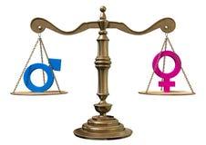 Jämställdhet som balanserar skalan Arkivbild