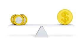 Jämvikt mellan euroen och dollaren Arkivbild