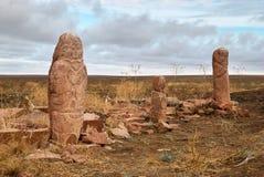 Jncient sanctuary Zhaisan. Ancient sanctuary Zhaisan. Stouns balbal. Kazakhstan Asia Royalty Free Stock Photos