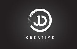 JO Circular Letter Logo with Circle Brush Design and Black Backg Stock Images