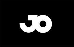 JO J O black white bold joint letter logo Royalty Free Stock Photos