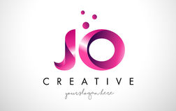 JO Letter Logo Design with Purple Colors and Dots Stock Image