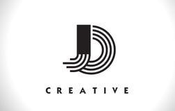 JO Logo Letter With Black Lines Design. Line Letter Vector Illus Stock Photos