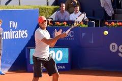 Jo Wilfried Tsonga bawić się przy ATP Barcelona (Francuski gracz w tenisa) obrazy stock