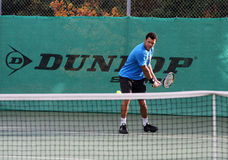 Jo-Wilfried Tsonga during a practice session Royalty Free Stock Photos