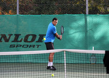 Jo-Wilfried Tsonga during a practice session Royalty Free Stock Images
