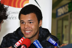 Jo-Wilfried Tsonga during a press conference Royalty Free Stock Photo