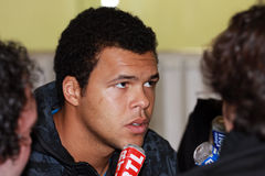 Jo-Wilfried Tsonga during a press conference Stock Photos