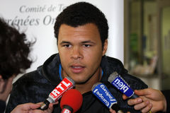 Jo-Wilfried Tsonga during a press conference Stock Image