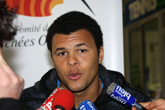 Jo-Wilfried Tsonga during a press conference Stock Photo