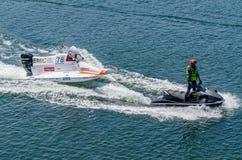 Joakim Halvorsen (NOR). PORTO, PORTUGAL - AUGUST 1, 2015: Joakim Halvorsen (NOR) during the U.I.M. F1H2O World Championship in Porto, Portugal Stock Photo