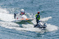 Joakim Halvorsen (NOR). PORTO, PORTUGAL - AUGUST 1, 2015: Joakim Halvorsen (NOR) during the U.I.M. F1H2O World Championship in Porto, Portugal Stock Images