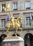 Joan of Arc. The golden statue of Saint Joan of Arc in Paris, France Royalty Free Stock Image