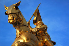 Joan of Arc. Bronze statue of Joan of Arc on Rue de Rivoli in Paris Royalty Free Stock Photo