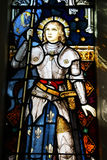 Joan of Arc. Stained glass in St Mary of the Angels, Wellington, New Zealand. Roman Catholic church. Famous national heroine of France: saint Joan of Arc Royalty Free Stock Image