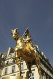 Joan of Arc in bronze. Bronze statue of Joan of Arc on Rue de Rivoli in Paris Stock Image