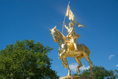 Joan of Arc gold statue. At The Philadelphia Museum of Art, Philadelphia, USA Royalty Free Stock Photo