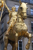 Joan of Arc. Golden statue of Joan of Arc in Place des Pyramides, Paris Stock Photos