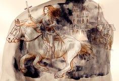Joan of Arc - An hand painted illustration stock illustration