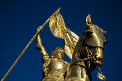 Joan of Arc - Jeanne d'Arc - New Orleans. Jeanne d'Arc is a gilded bronze equestrian sculpture of Joan of Arc by Emmanuel Frémiet inaugurated in 1874. The Stock Photography