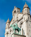 Joan of Arc Statue. A statue of the Joan of Arc at the Basilica of the Sacred Heart of Paris, or the Sacre-Cœur Basilica, in downtown Paris, France Stock Photo