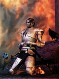 Joan of Arch / Joan of Arc. Clad in Armor Joan of Arc kneels after the battle a raven by her side and the image of angels ghost in the sky Stock Photography