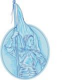 Joan av den ovala teckningen för båginnehavflagga stock illustrationer