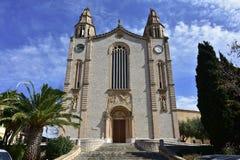 Joan Baptista-kerk op eiland Majorca, dorp Calvia royalty-vrije stock afbeelding