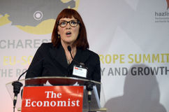 Joan Hoey. The Economist senior analyst and regional editor Joan Hoey pictured during the Economist southeast Europe summit, held at the JW Marriot Hotel in royalty free stock image