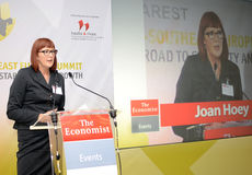 Joan Hoey. The Economist senior analyst and regional editor Joan Hoey pictured during the Economist southeast Europe summit, held at the JW Marriot Hotel in royalty free stock photography