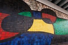 Joan Miro - Large Ceramic Mural - Barcelona. Detail of mosaic of Joan Miro (1970) in collaboration with the ceramicist Josep Llorens Artigas, Large Ceramic Mural stock image