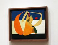 Joan Miro At The MOMA. A collection of 60 paintings of The  Spanish Painters sculpture and ceramicist ,Joan Miro is exhibited at the Museum Of Modern Art in royalty free stock photo