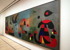 Joan Miro At The MOMA. A collection of 60 paintings of The  Spanish Painters sculpture and ceramicist ,Joan Miro is exhibited at the Museum Of Modern Art in stock photography