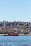 Joan Moran Tugboat on the Hudson River. ALPINE, NEW JERSEY, UNITED STATES - January 1, 2017: The Joan Moran tug boat is seen working on the Hudson River near Stock Image