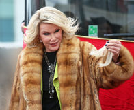 Joan Rivers. Celebrates her induction into the Gray Line New York Ride of Fame campaign.  The event was held at Pier 78 at 12th Avenue and 38th Street in Stock Photography