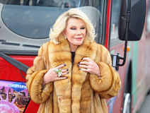 Joan Rivers. Celebrates her induction into the Gray Line New York Ride of Fame campaign.  The event was held at Pier 78 at 12th Avenue and 38th Street in Royalty Free Stock Images