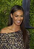 Joan Smalls Attends 2015 Tony Awards. Fashionable supermodel Joan Smalls arrives on the red carpet for the 69th Annual Tony Awards at Radio City Music Hall in Stock Images