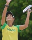 Joana Cortez στο πρωτάθλημα παγκόσμιας ομάδας αντισφαίρισης παραλιών Στοκ Φωτογραφίες